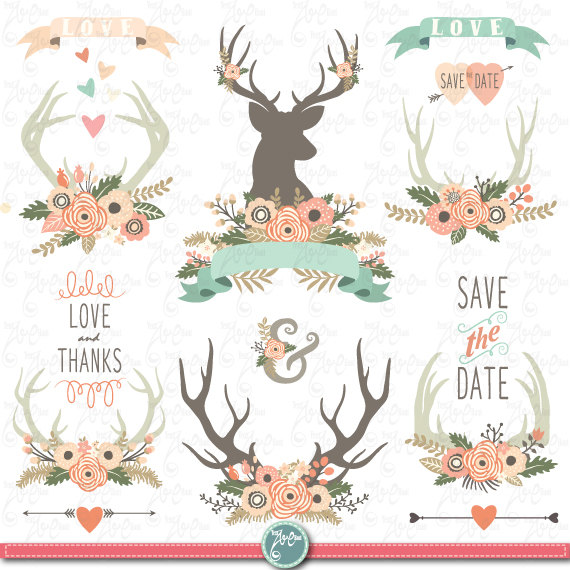 Antlers clipart frame. Wedding clip art floral