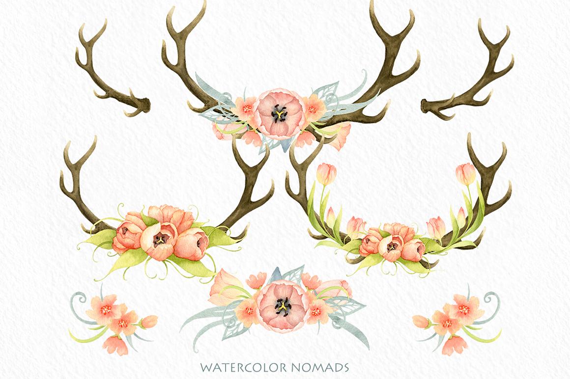 Antlers tulips design set. Antler clipart watercolor
