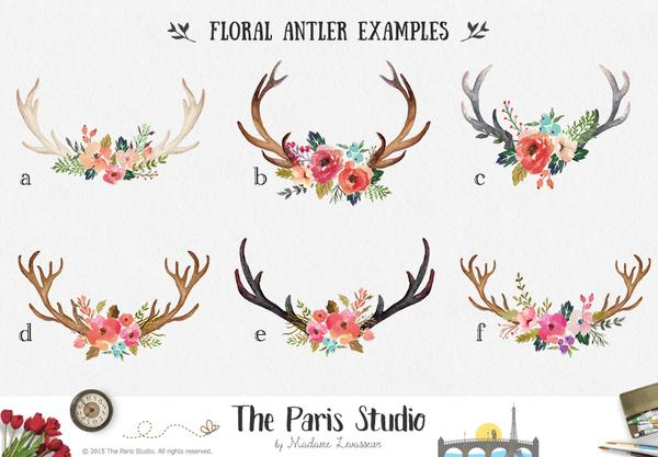 Antler clipart watercolor. Floral logo pay as