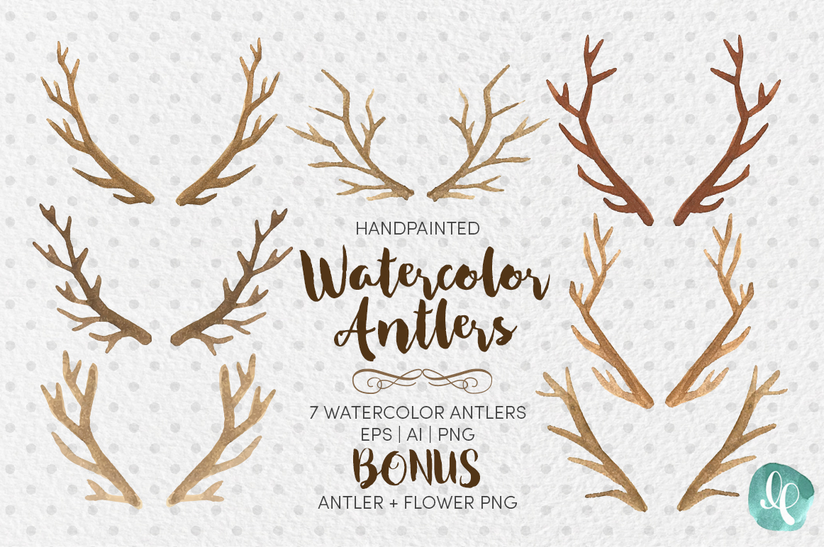 Antlers clip art ai. Antler clipart watercolor