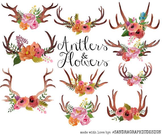 Antlers clip art floral. Antler clipart watercolor