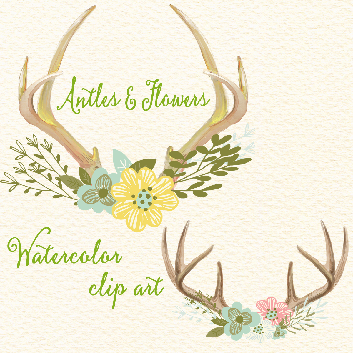 Antlers and flowers floral. Antler clipart watercolor