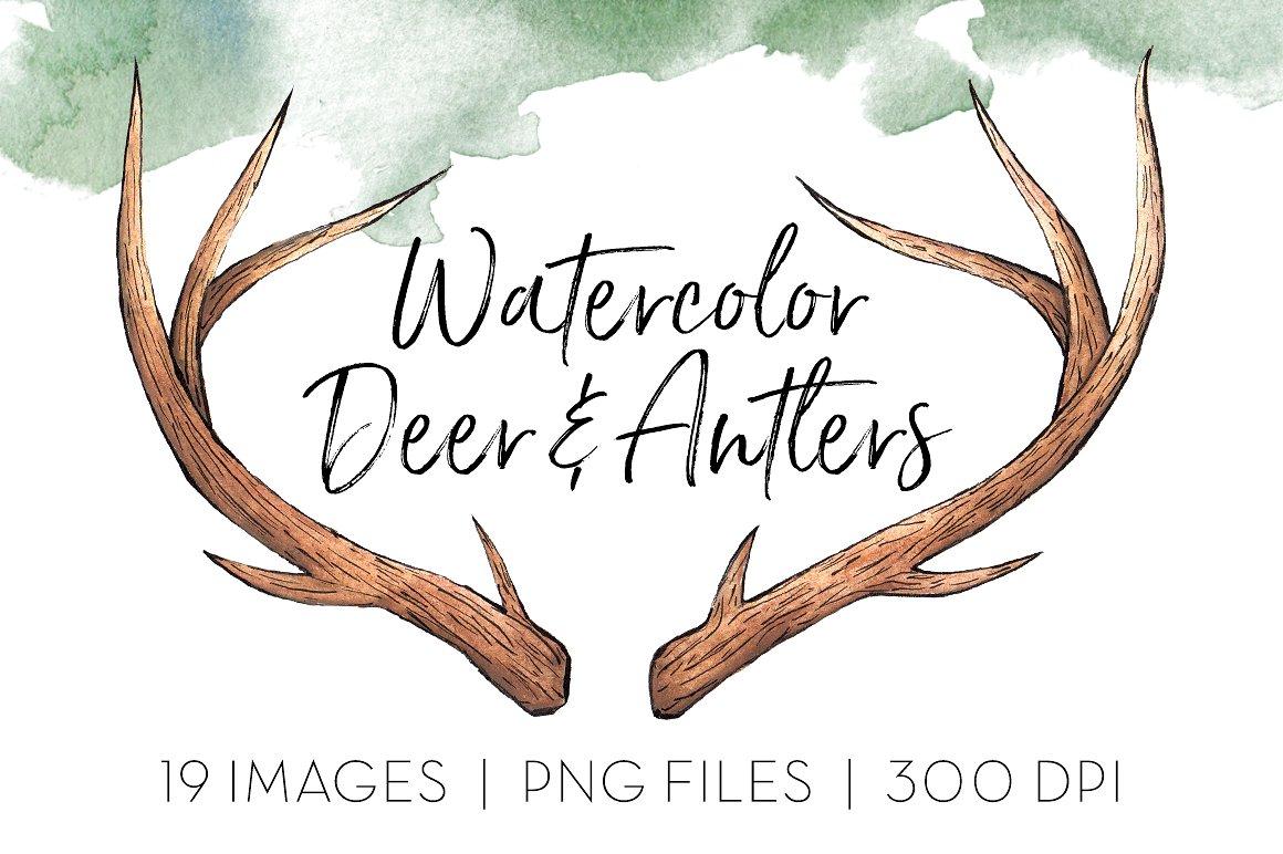 Deer icons creative market. Antlers clipart watercolor