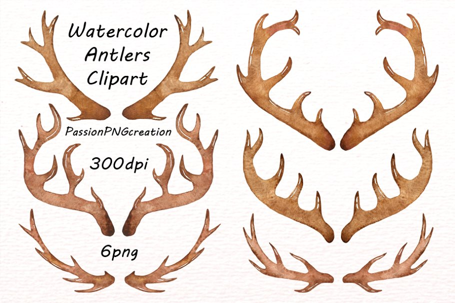 . Antlers clipart watercolor