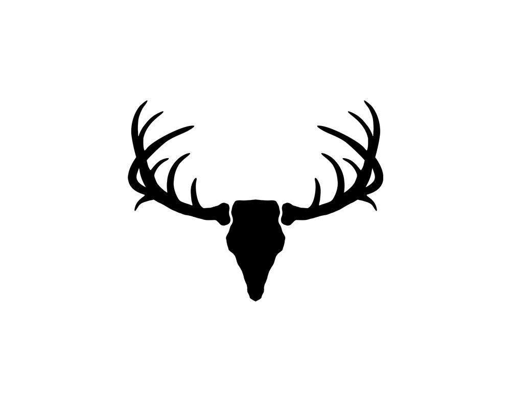 Whitetail deer silhouette at. Antler clipart white tail