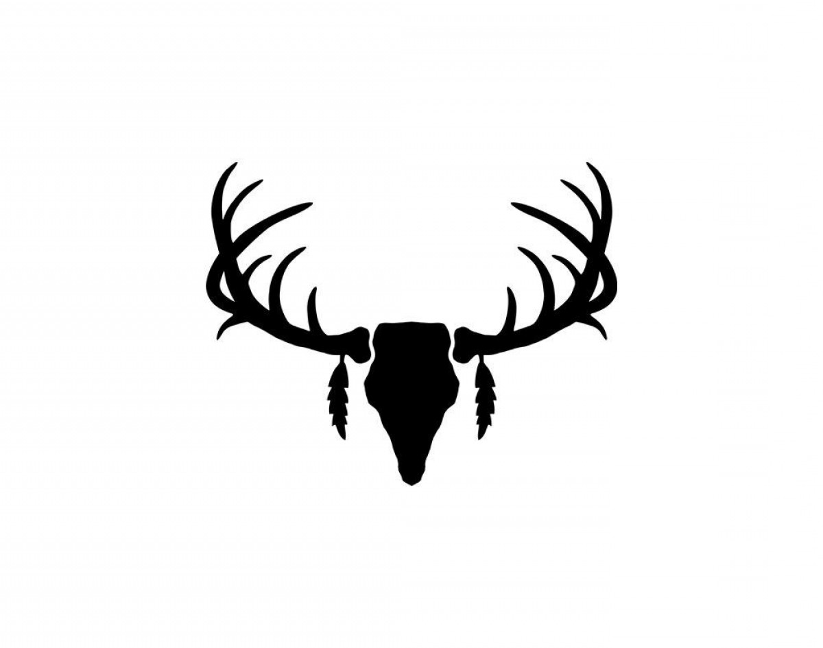 Unique black deer antlers. Antler clipart white tail