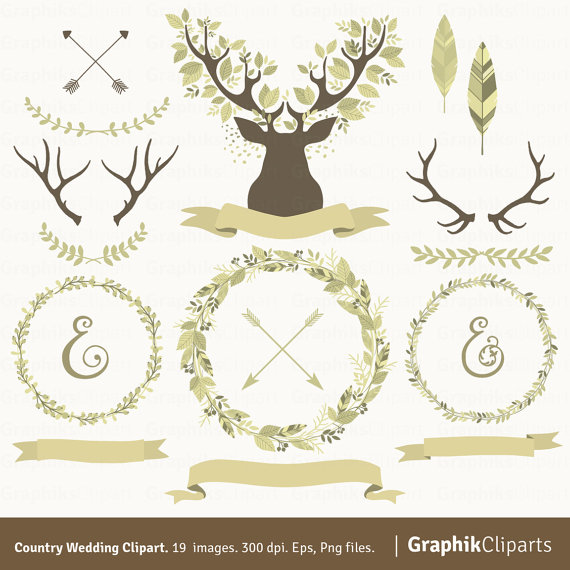 Antler clipart wreath. Country wedding laurel wreaths