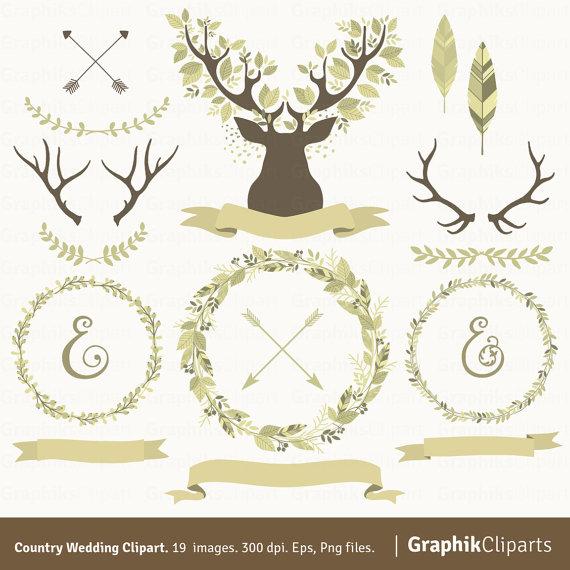 Country wedding laurel wreaths. Antlers clipart wreath