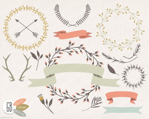 Wreaths laurels ribbons clip. Antlers clipart wreath