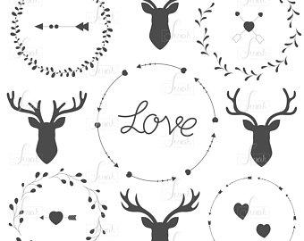 Hand drawn antlers etsy. Antler clipart wreath