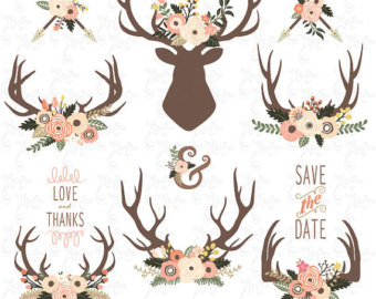 Wedding clip art floral. Antlers clipart tribal