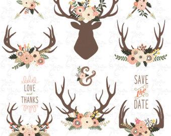 Antler clipart wreath. Wedding clip art floral