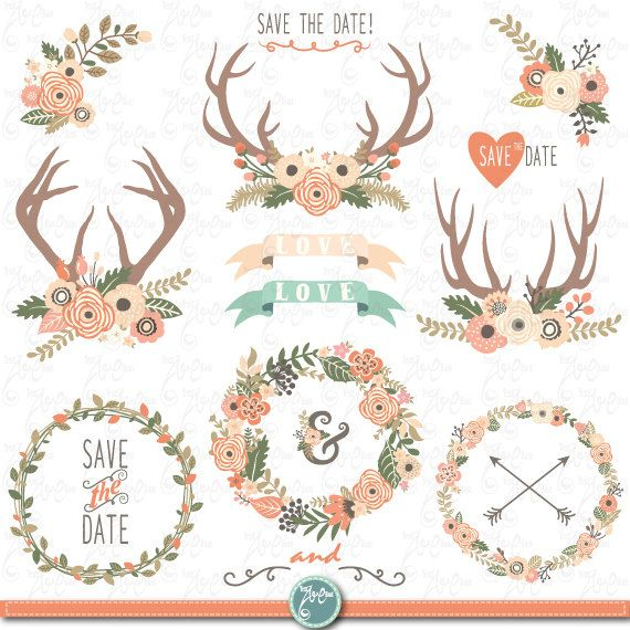 Wedding clip art flower. Antler clipart wreath