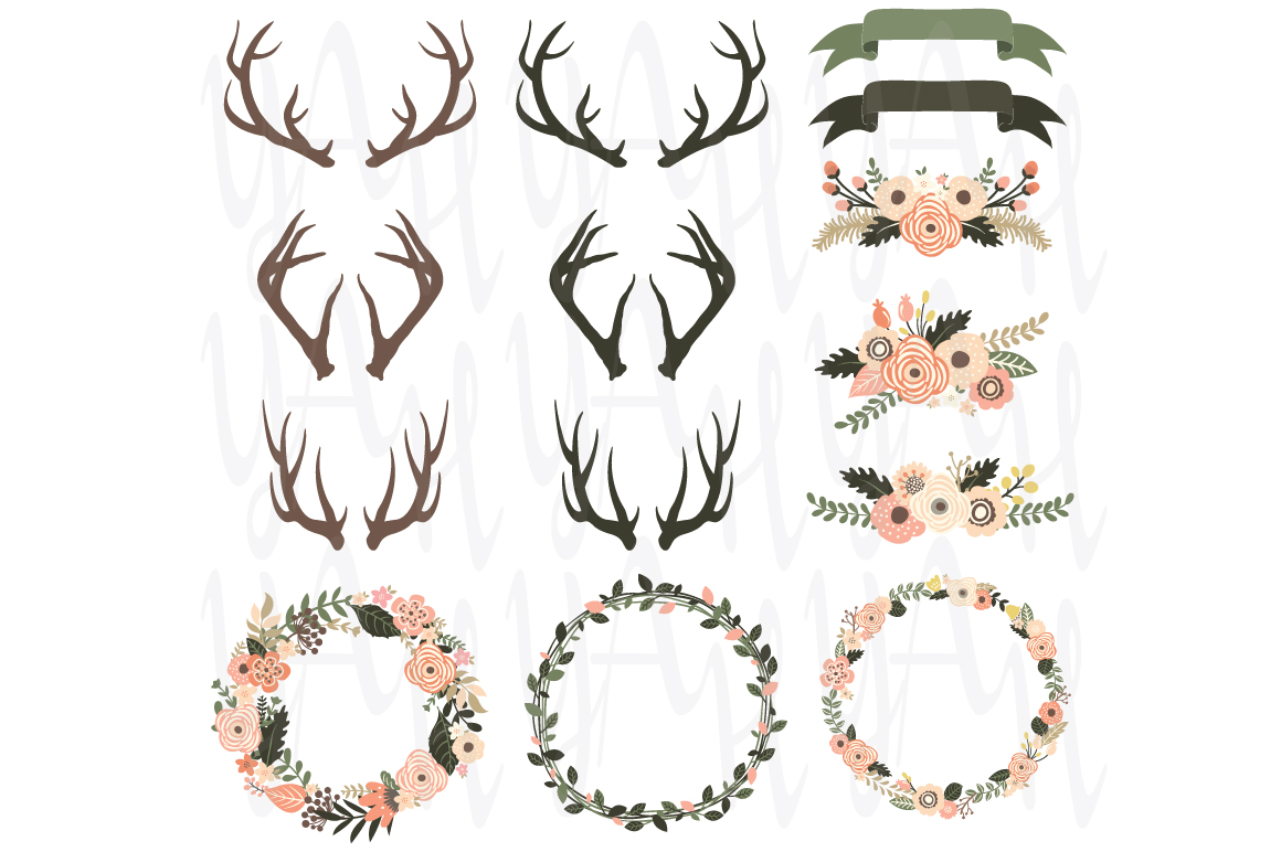 Antler clipart wreath. Rustic floral antlers elements