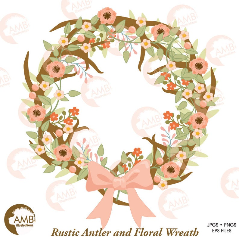 Rustic wedding and floral. Antler clipart wreath