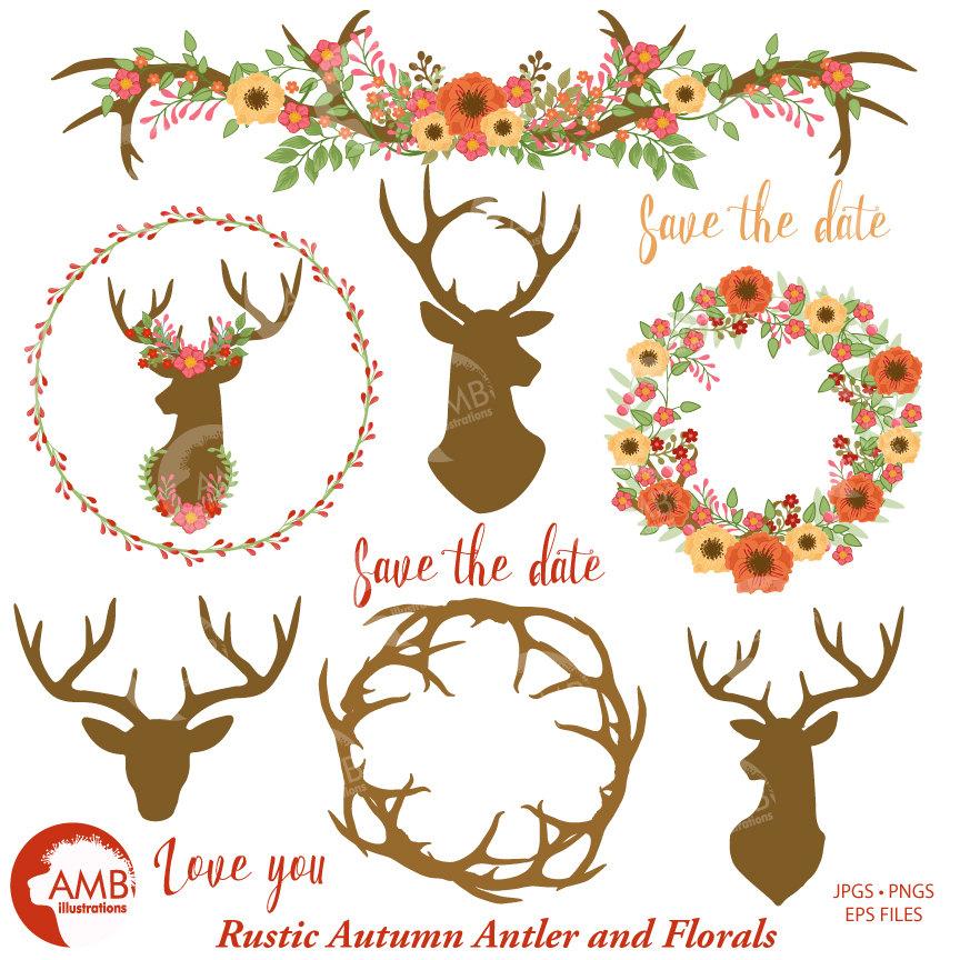 Antlers clipart wreath. Rustic wedding floral antler
