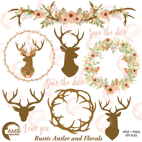 Rustic wedding floral antlers. Antler clipart wreath