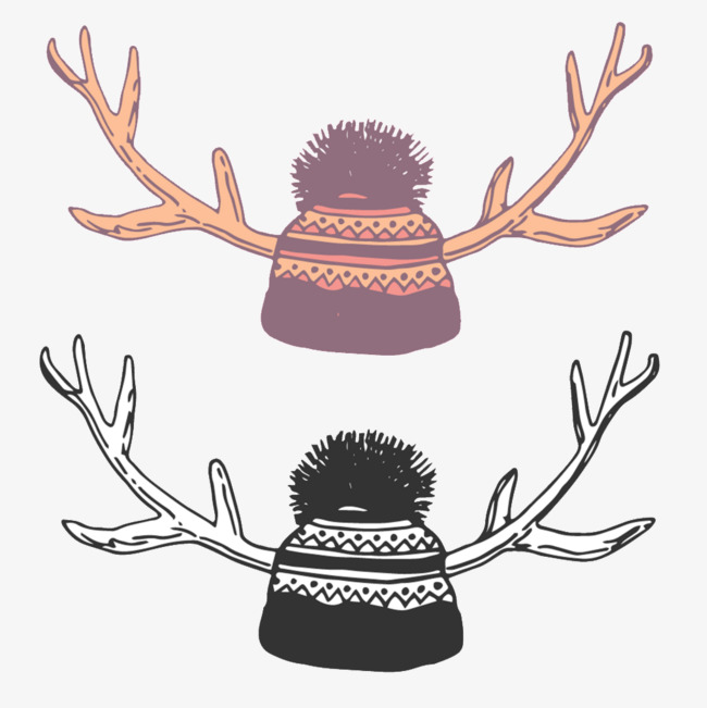 Wool cap antlers color. Antler clipart animated