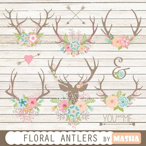 Antlers clipart arrow. Floral antler bouquet rustic