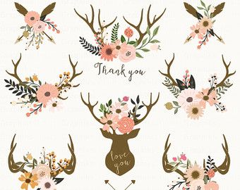 Antlers clipart baby deer. Floral bouquet wedding by