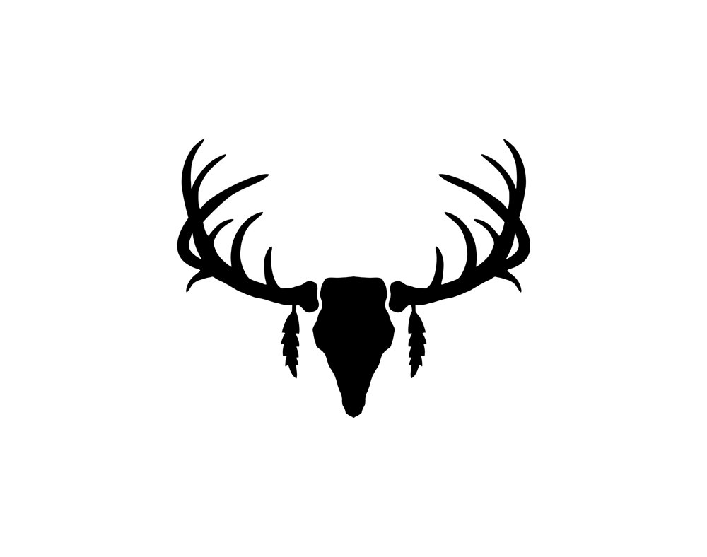 Antlers clipart black and white. New deer collection digital