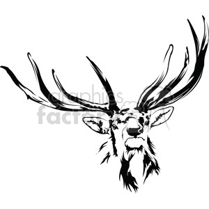 Antlers clipart black and white. Elk royalty free