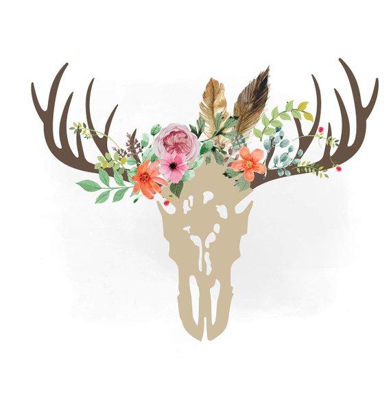 Antlers clipart boho. Floral deer skull svg