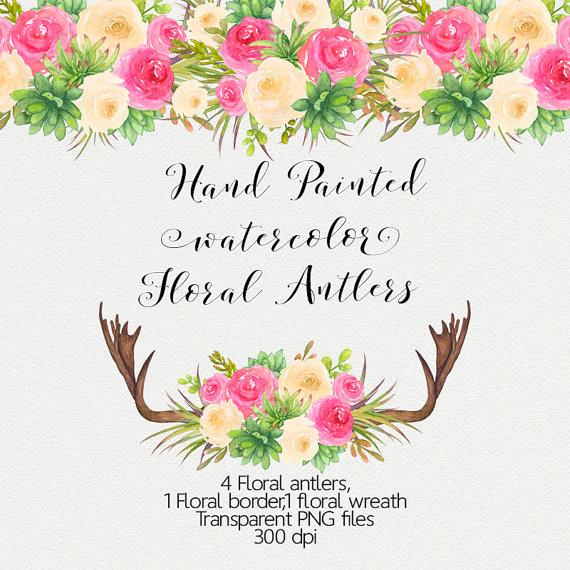 Antlers clipart border. Watercolor floral clip art