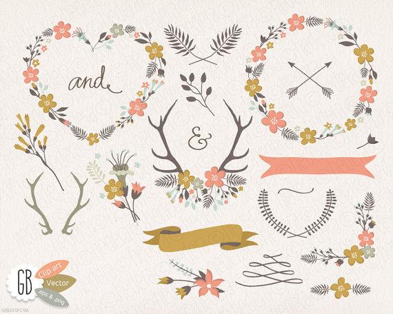 Folk flower wreaths floral. Antlers clipart border