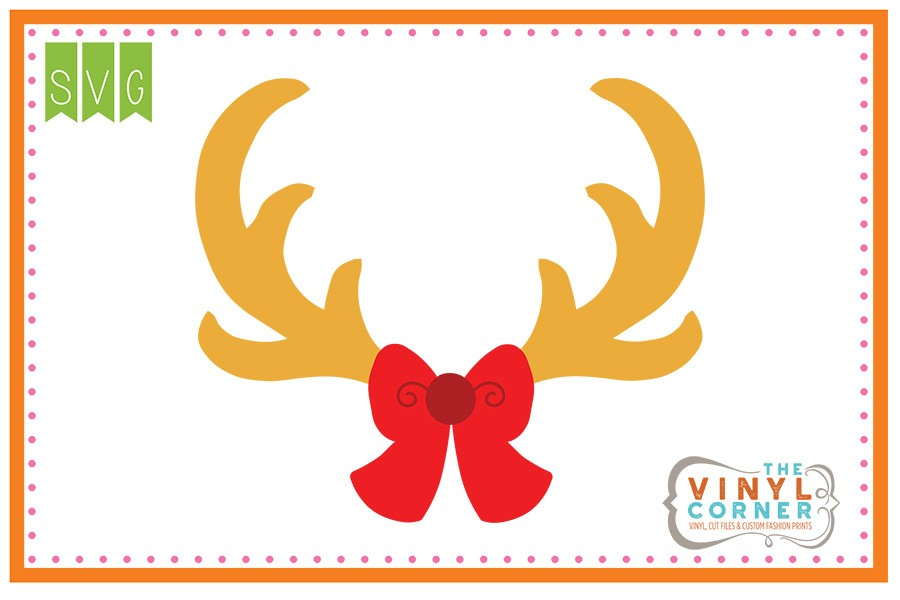Applique corner with svg. Antlers clipart bow