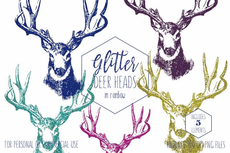 Glitter deer commercial use. Antlers clipart buck antler