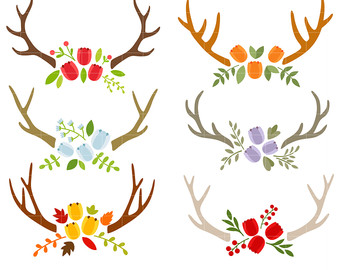 Antlers clipart craft. Drawing etsy tulip digital
