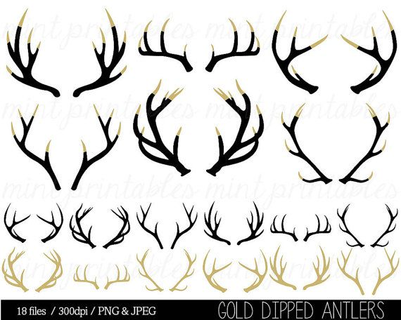 Antler silhouette clip art. Antlers clipart craft