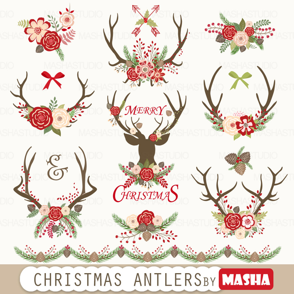 Christmas antlers with . Antler clipart cute
