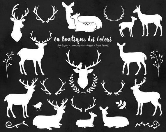 White deer silhouette graphics. Antlers clipart cute