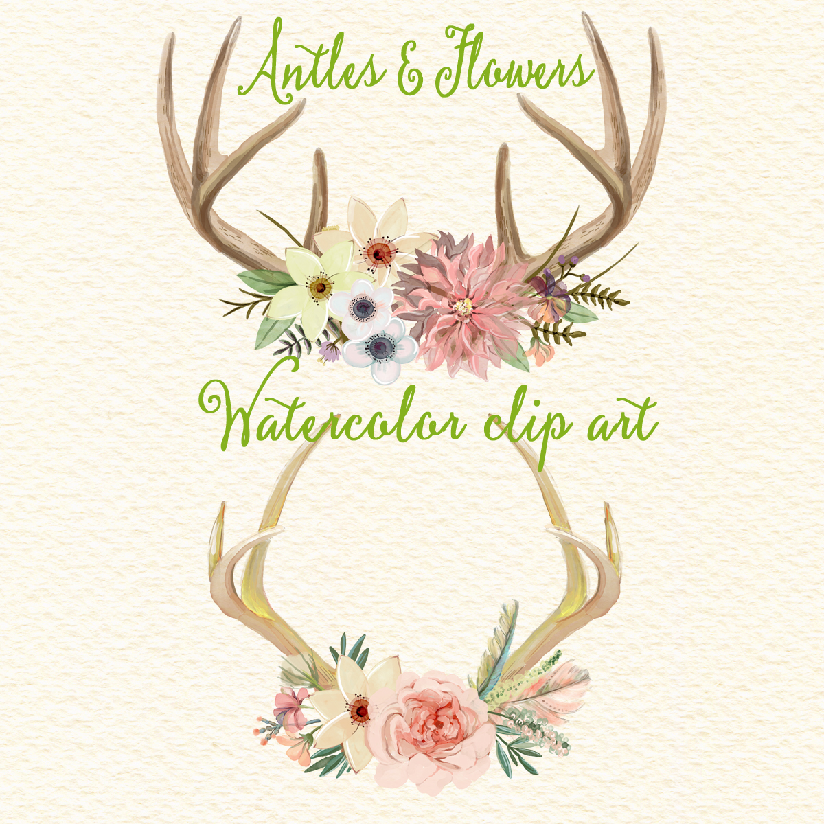 And flowers watercolor floral. Antlers clipart deer horn