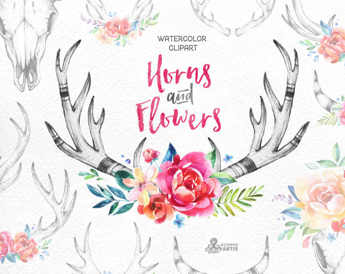 Antlers clipart draw. Horns flowers watercolor floral