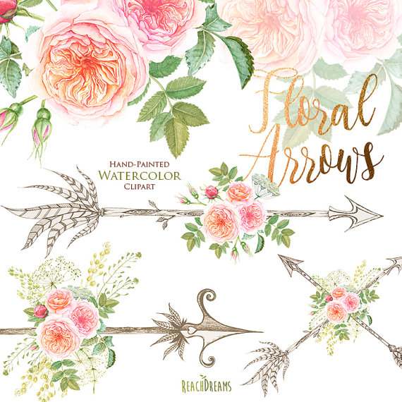 Watercolor flowers feathers horns. Antlers clipart feather