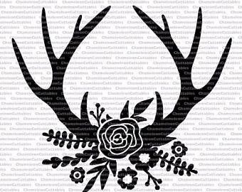 Antlers clipart file. Floral black svg cut