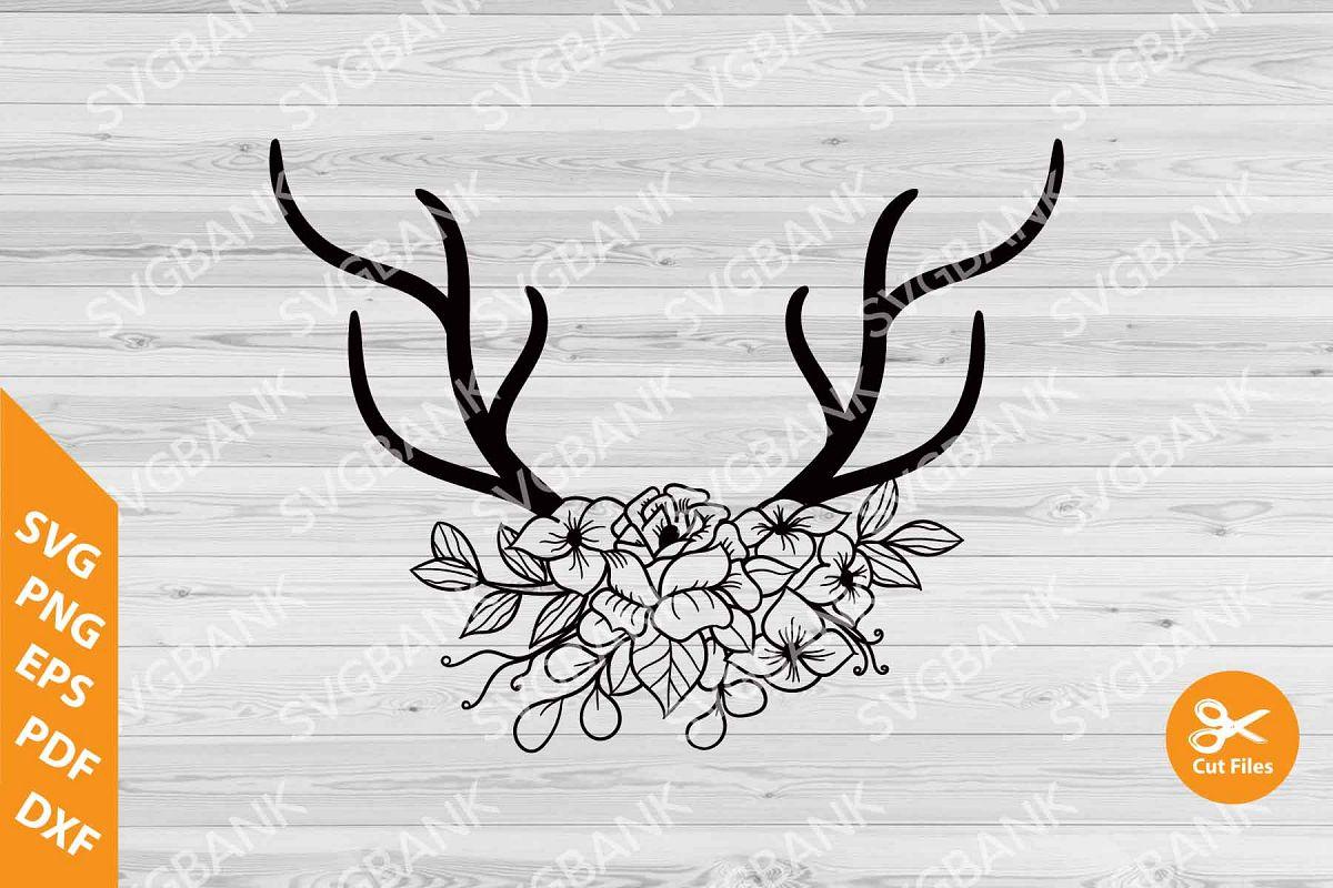 Antlers clipart file. Deer floral svg cut