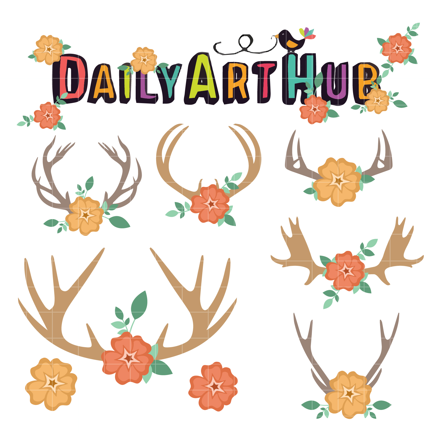 Antlers clipart flower. And flowers clip art