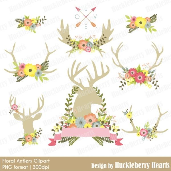 Floral flowers and digital. Antlers clipart flower