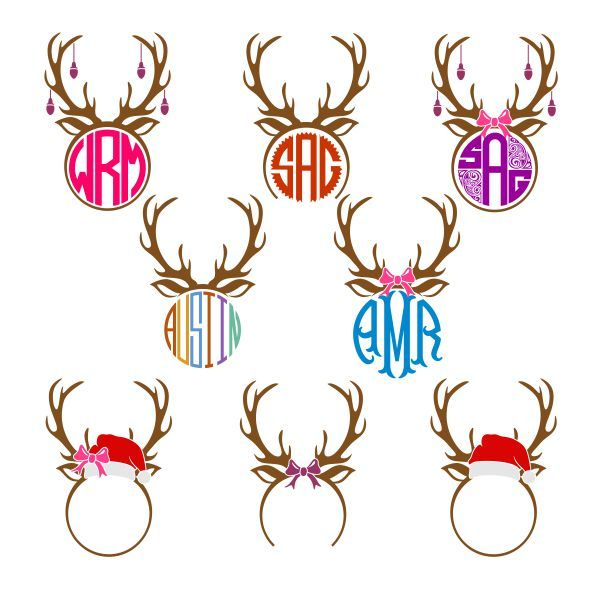 Pack monogram cuttable i. Antlers clipart frame