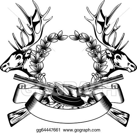 Antlers clipart frame. Vector art hunting with