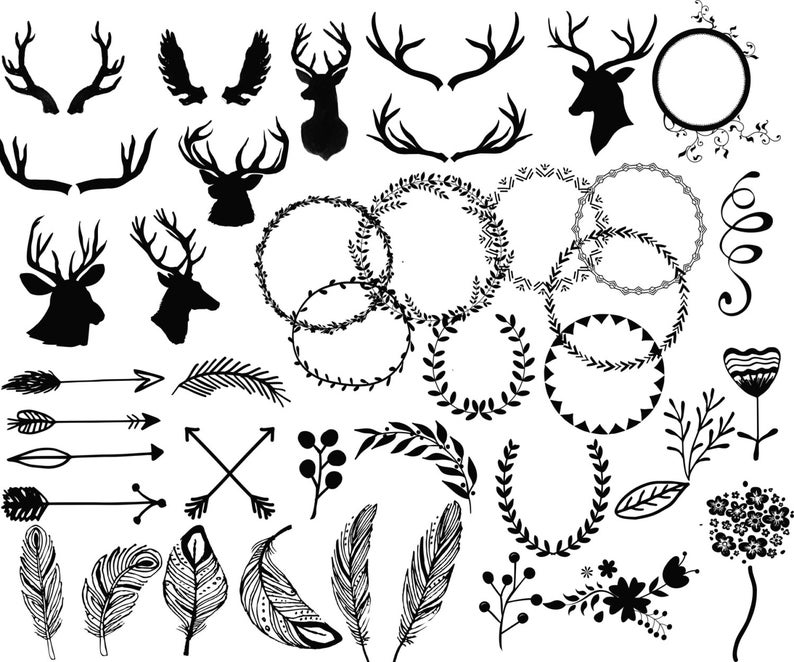 Antlers clipart frame. Wedding clip art deer