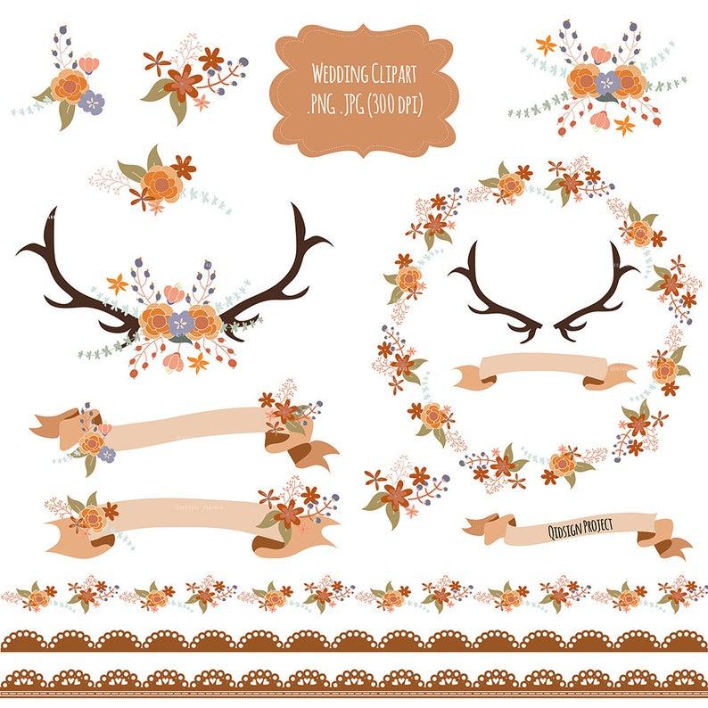 Antlers clipart frame. Wedding floral frames bouquet