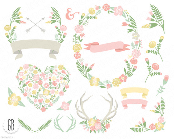 Antlers clipart frame. Flower wreaths floral heart