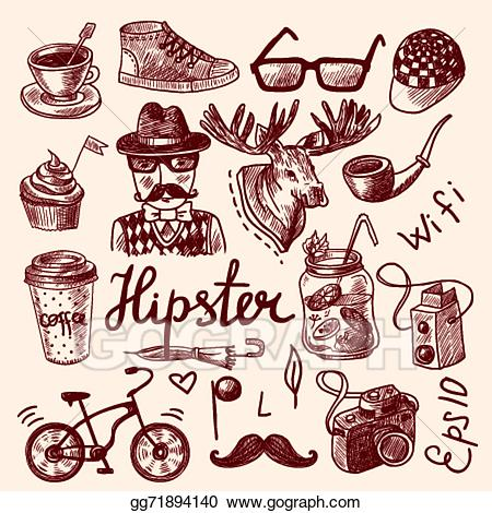 Antlers clipart hipster. Vector art set of