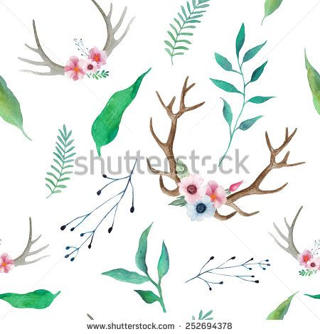 Antlers clipart hipster. Watercolor floral antler pattern