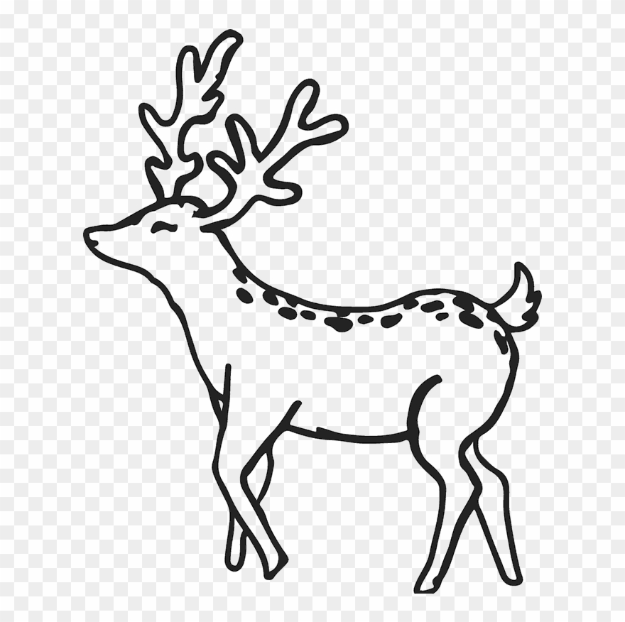 Buck deer rubber stamp. Antlers clipart outline
